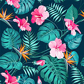 Blossom flowers for seamless pattern background. Tropical flower fashion pattern. Tropic flowers for nature background.