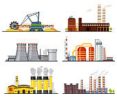 Factories or industrial plants, heavy industry set