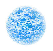 Blue Particles Flowing Inside A Sphere Isolated On White Background