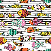 Vector kids pattern. Colorful doodle reef fishes on black and white lines repeating vector pattern. Animal seamless background for kids.