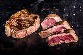 typical beef from brazil grilled picanha steak beef on hot iron plate