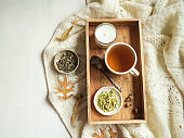 Autumn composition. Frame made of knitted plaid or scarf, fallen leaves, wooden tray with cup of herbal tea and candle on pastel grey background. Autumn, fall concept. Flat lay, top view,