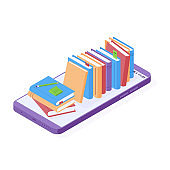 Online reading or education isometric vector illustration.