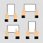 Hands holding tablet computer with blank screen. Flat design concept on isolated background. Eps 10 vector. Business concept