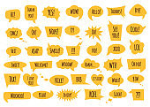 Speech bubble set with conversation phrases and words in isolated vector illustration.