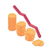 Economic and financial crisis isometric vector illustration.