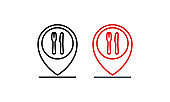 Location food logo. Public catering point. Symbol restaurant address location. Pointer cursor with knife fork and spoon for map. Vector on isolated white background. EPS 10