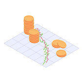 Economic and financial crisis isometric concept - decreasing stacks of golden coins standing on decline business graphic