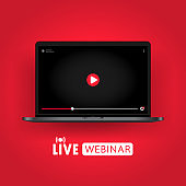 Watching live webinar on notebook illustration. Distance education. Online seminar, lesson, lecture, training, course. Vector on isolated background. EPS 10