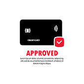 Approved payment credit card icon. The concept of a successful bank payment transaction. The front side of the card with a check mark in a circle. Vector on isolated white background. EPS 10