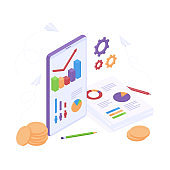 Isometric business analysis concept with graphics on mobile phone and paper documents, coin money and gears.
