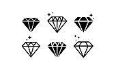 Diamond icon set. Abstract jewelry gemstones, crystals. Jewelry logo design. Vector on isolated white background. EPS 10