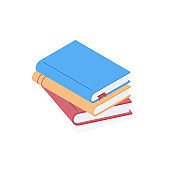 Stack of paper books with colorful hard cover in isometric vector illustration.