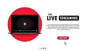 Watching live streaming on laptop illustration. Online webinar, lesson, course. Vector on isolated background. EPS 10