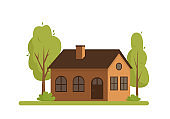 Country house with trees on white background.