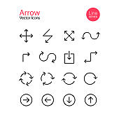 Arrow icon line set. Download, direction, expand, scale, refresh. Vector on isolated white background. Eps 10