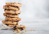 Homemade organic oatmeal cookies with raisins and apricots on light background. Space for text