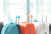 Suitcase or trolley and airport background with plane. 3d rendering