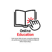 Online education icon. Distance studying. Video guide tutorial, course, seminar, conference, stream, webinar. E learning concept. Vector on isolated white background. EPS 10