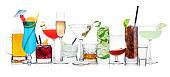 Various summer cocktails and strong alcohol drinks on white.Blue lagoon, martini, negroni, mojito, spritz, gimlet, cuba libre, cosmopolitan, margarita.