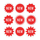 Red starburst sticker with new sign set - circle sun and star burst badges and labels with text about new product.