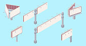 Isometric billboard set with blank canvas for outdoor advertising.