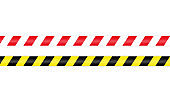 Warning barrier tape red white and yellow black. Tape pole fencing is protects for no entry. Vector on isolated white background. EPS 10