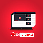 Video tutorials illustration. Watching streaming video, webinar, training online on laptop. Vector on isolated background. EPS 10