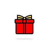 Gift box flat icon. Christmas, New Year or birthday present. Vector on isolated white background. EPS 10