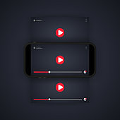 Watching video on smartphone illustration. Watch movie, film. Video player. Mobile streaming. Vector on isolated background. EPS 10