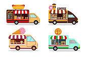Set of food trucks on white background.