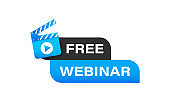 Free webinar label. Distance learning. Knowledge concept. Vector on isolated white background. EPS 10