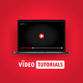 Watching video tutorials on laptop illustration. Online webinar, course, training. Vector on isolated background. EPS 10
