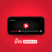 Watching live webinar on smart phone illustration. Distance education. Online lesson, Lecture, training, course. Vector on isolated background. EPS 10