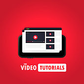 Watching video on smart phone illustration. Distance education concept. Webinar, video tutorial, online streaming. Vector on isolated background. EPS 10