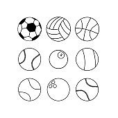 Sports ball or different game balls icon set in black on isolated white background. EPS 10 vector.