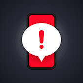 Mobile phone screen with a warning about spam, secure connection, fraud, virus. Phone alarm notice and new message. Danger error alerts, computer virus problem. Vector, illustration