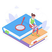 Online education or work with laptop isometric isolated vector illustration.