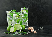 Glasses of Mojito refreshing summer cocktail with ice cubes mint and lime on black board with spoon and fresh limes with cane sugar. Sparkling refreshing water.