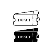 Tickets or coupons icon in black and white on isolated white background. EPS 10 vector.