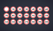 Speed limit road sign icon set. Vector on isolated background. EPS 10