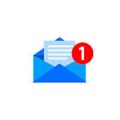 New message, notification, email, amail, chat or letter icon flat in on isolated background. EPS 10 vector