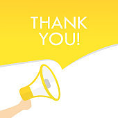 Hand holding megaphone with thank you text. Announcement. Loudspeaker. Banner for business, marketing and advertising. Vector on isolated background. EPS 10