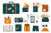 Packing for traveling. Big travel set. Suitcase and things for holiday. Luggage collection vector illustration in flat style.