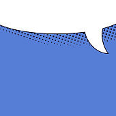 Speech bubble blue banner with space for phrases.