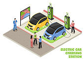 isometric electric car vehicle charging station