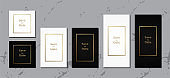Luxury wedding invitation card  black and white leather template