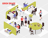 isometric advertising agency open space cubicle office workplaces illustration