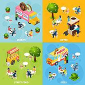 street food trucks carts isometric 2x2