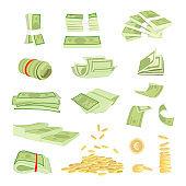 Money cash banknotes currency vector illustration, bills dollar